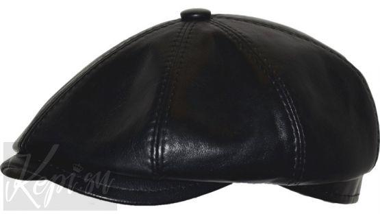Кепка кожаная восьмиклинка H (наппа кожа, хулиганка).